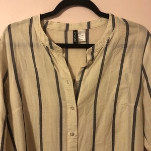 Blue and off white striped button down